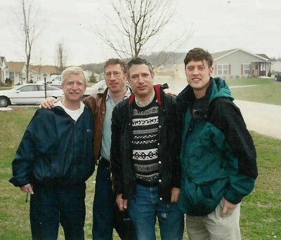 My two brothers, my son, and I all gathered at my mother's house in